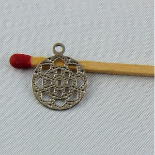 Pendant Wheel rudder of pirates boat, charm, miniature, 2 cm.