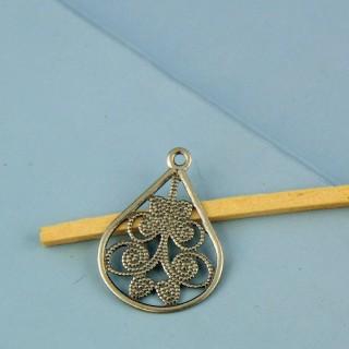 Breloque pendentif forme goutte en métal ajouré 2 cm