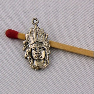 Breloque pendentif tête d'indien, inca 2 cm