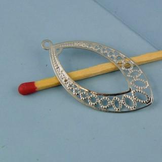 Breloque pendentif forme goutte en métal ajouré 36 mm