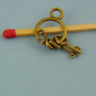 Trousseau 4 clefs, pendentif, breloque, miniature poupée, 1,8cm