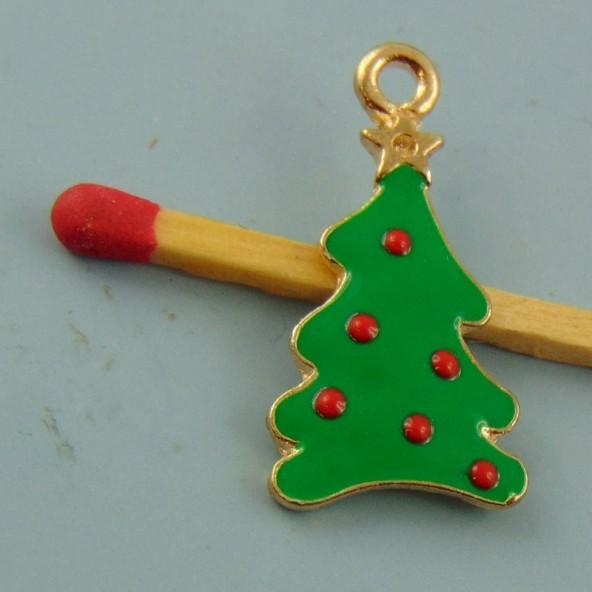 Breloque sapin de Noël émaillée miniature