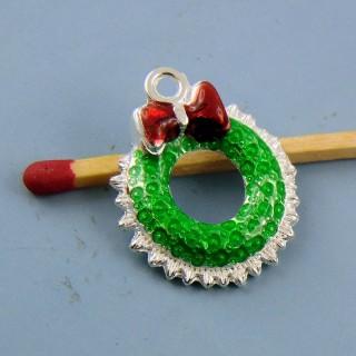 Breloque Noël couronne de l'Avent en fleurs miniature