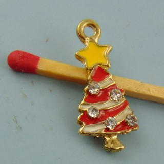 Charm miniature Christmas tree enamelled