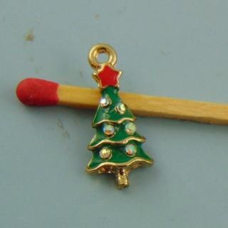 Breloque sapin de Noël émaillée avec strass miniature