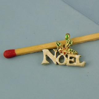 Dije inscripción Noël esmaltada miniatura