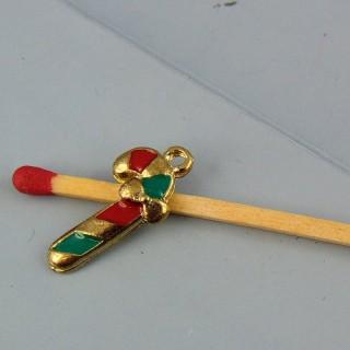 Breloque canne à sucre Noël émaillée miniature