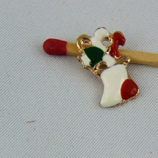 Charm miniature sugar cane Christmas enamelled