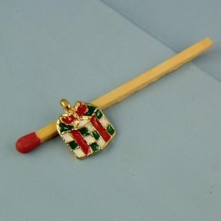 Breloque paquet cadeau de Noël émaillée miniature