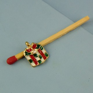 Charm package miniature Christmas present enamelled