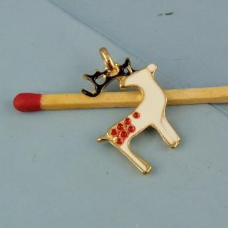 Breloque renne émaillée miniature