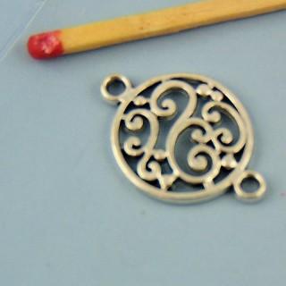 Breloque pièce ethnique en métal 15 mm