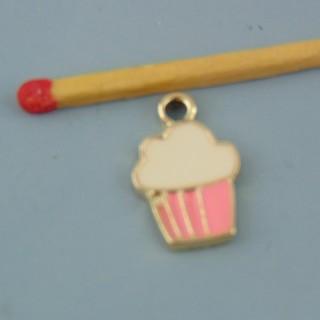 Dije cupcake miniatura metal esmaltado 17 mm.