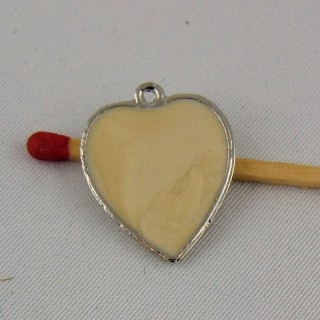 Coeur pendentif imitation nacre 2 cm.