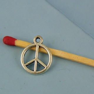 Pendentif argenté peace and love 2 cm.