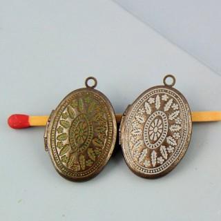Medallón retro vintage plumas y flor 2 cm