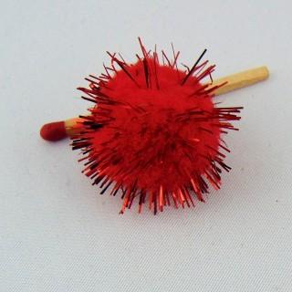 Mini Pompon boule scintillant 3 cm