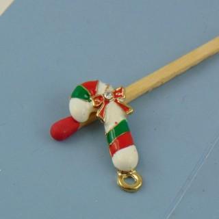 Dije caña de azucar Noël esmaltada miniatura