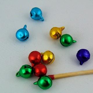 Set 10 Metallic 1 cm jewel tone bells the smallest,.