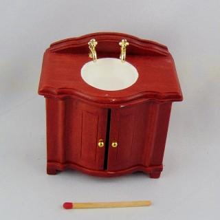 Pila Lavabo movible caoba miniatura casa muñeca.