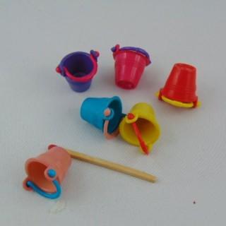 Miniature plastic pail for doll house 2 cm