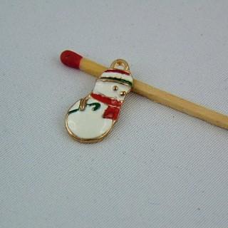 Dije muñeco de nieve esmaltada miniatura