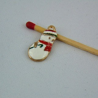 Miniature charm snowman enamelled