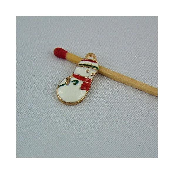 Breloque bonhomme de neige émaillée miniature