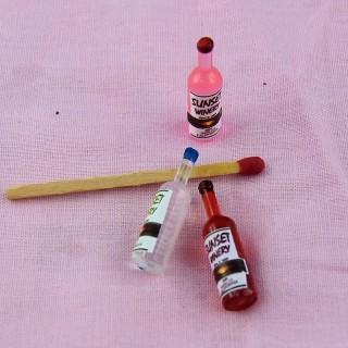 Bouteille de vin miniature maison poupée