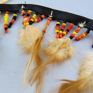Ruban galon perles et plumes 8 cm