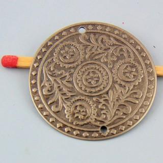 Breloque de jonction pièce ethnique en métal 27 mm