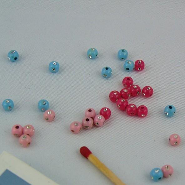 10 Perles boule en plastique avec des strass 4 mm.