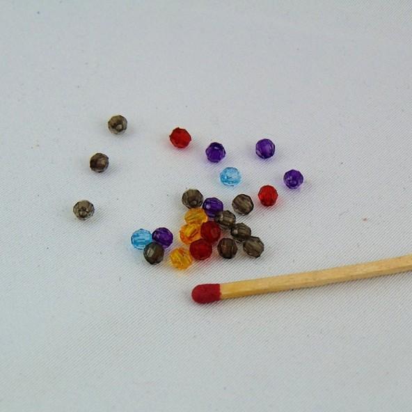 10 Perles à facettes en plastique 4 mm.