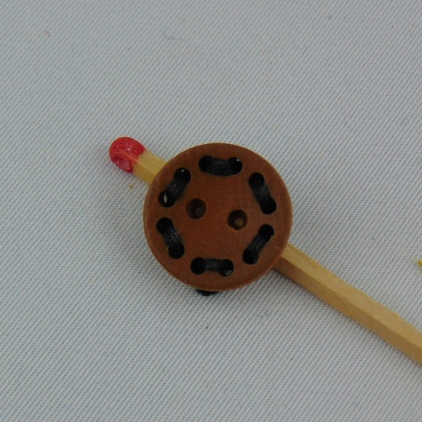 Bouton bois tour de trous avec un fil 2 trous 15 mm.
