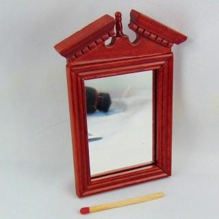 Miroir bois sculpté miniature maison poupée