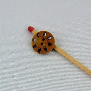 Bouton bois tour de trous pour passer un fil 2 trous 13 mm.
