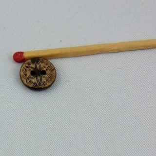 Knopf Holz eingeprägte Kokosnuss ethnische Blume 2 Löcher 1 cm.