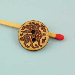 Botón madera coco grabado étnica 2 agujeros 15 mm.