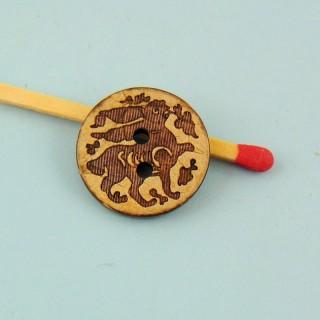 Knopf Holz eingeprägte Kokosnuss ethnische 2 Löcher 18 mm.