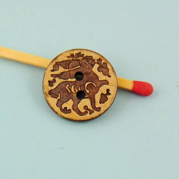 Knopf Holz eingeprägte Kokosnuss ethnische 2 Löcher 15 mm.