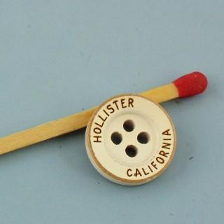 Bouton rond bois couleur 13 mm.