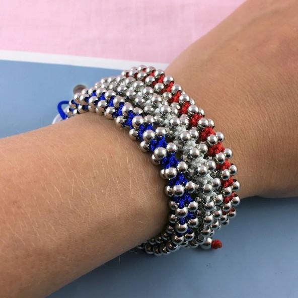 Bracelet perles métal noeud coulissant