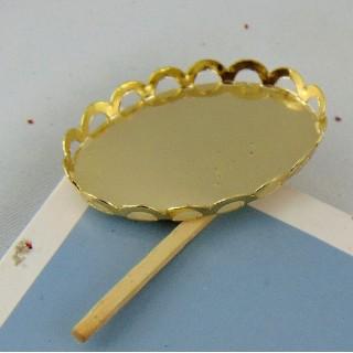 Plateau miniature ovale en métal doré 4 cm