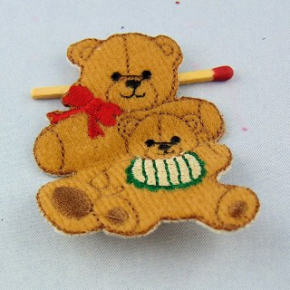 Iron on Embrodery bear overall badge, Teddy bear patches.