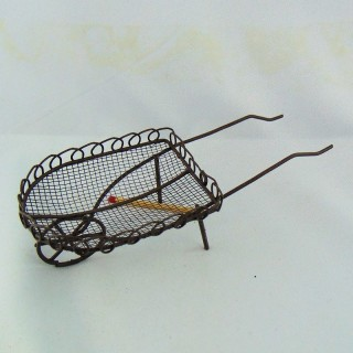 Doll house Miniature tin wheelbarrow rusted