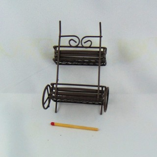 Rust metal pull cart miniature