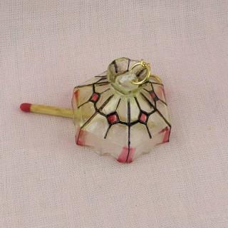 Suspensión lámpara Tiffany miniatura casa muñeca,