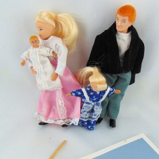 Miniature dolls family 1/12 for dollhouse