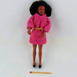 Kleine Puppe 1/12 schwarze Frau 14 cm