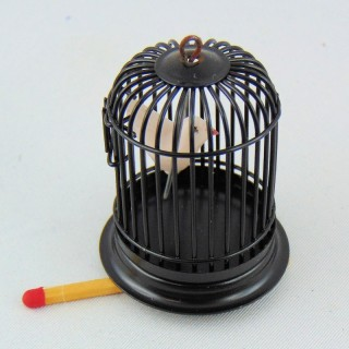 Bird cage with bird doll house miniature,